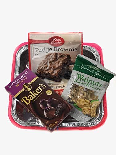 Aunties Favorites Brownie Mix 4 Pc Bundle! Brownie Mix, Walnuts, Chocolate Baking Bar and Pan! Everything you need Bake and Take Kit! - Walnut Kit