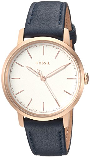 Fossil Women's 'Neely' Quartz Stainless Steel and Leather Casual Watch, Color:Rose Gold (Model: ES4338)