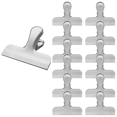 Stainless Steel Bag Clips By FUMCare 14-Pack - 3'' Wide Metal, Heavy-Duty Chip Clips For Food Bags, Paper Sheets & More - Strong & Sturdy Clamps, Air Tight Seal Grip Clips For Kitchen, Garage, Office ()