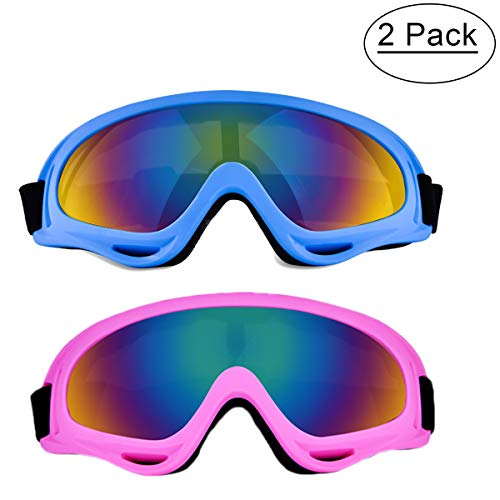 BaKee Kids Ski Goggles Set, Snowboard Goggles for Kids Boys Girls Youth Men Women, with 100% UV400 Protection, Wind Resistance, Anti-Glare Lens (Include Cleaning Cloth) (2 Pack:Pink-Blue)