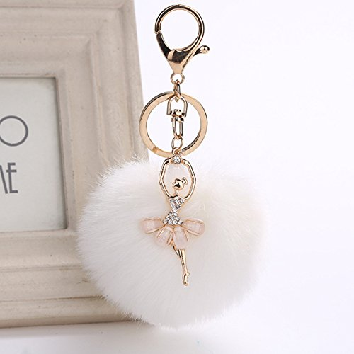 1 Pc Mini Pocket Rabbit Fur Cony Hair Ballet Keychain Keyring Keyfob Dancer Nice Ball Pom Poms Pendant Keys Chains Rings Tags Strap Wrist Superb Popular Cute Wristlet Utility Keyrings Tool, Type-05