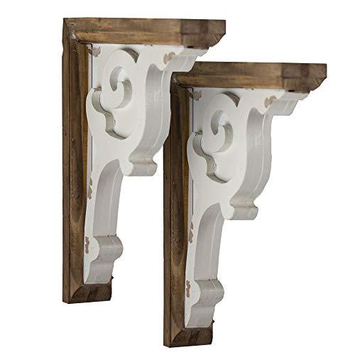 (Crystal Art Shelf Brackets Wooden Corbels Brown White)