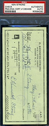 Ken Strong Signed Psa/dna Certified Check Authenticated