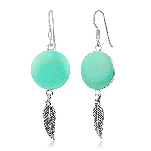 """925 Sterling Silver Blue Turquoise Stone Tribal Dreamcatcher Round Dangle Hook Earrings 2"""""""