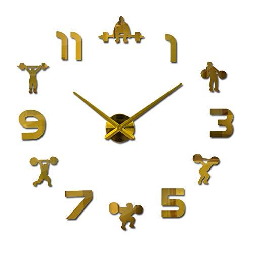 (Decorative DIY 3D Brief Style Wall Clock Classical Design Clocks Stickers Quartz Acrylic Mirror Watch Style Room,Gold,37 Inch)