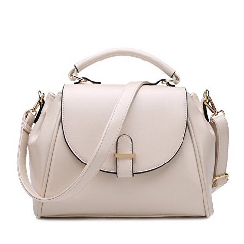 Fashion Road Womens Modern Retro Top Handle Bag Pu Leather Satchel Handbag Beige