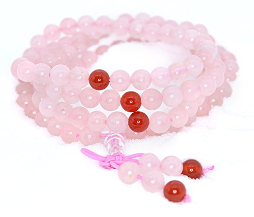 The Art of Cure Healing Jewelry & Mala meditation beads (108 beads on a strand) (rose quartz & agate) (Spirit Strand Bracelets)