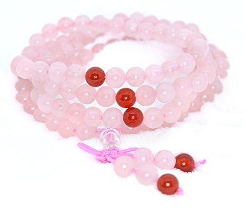 (The Art of Cure Healing Jewelry & Mala Meditation Beads (108 Beads on a Strand) (Rose Quartz & Agate))