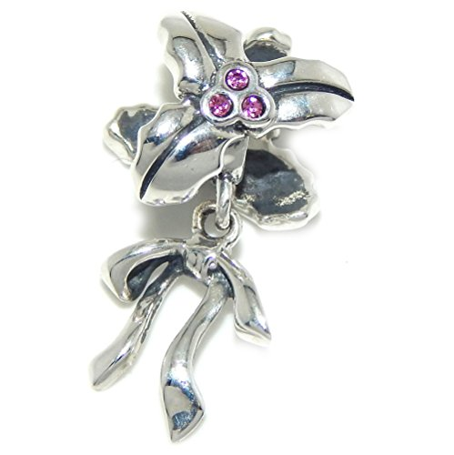 Pro Jewelry 925 Solid Sterling Silver Holly with Pink Crystals and Dangling Bow Charm Bead
