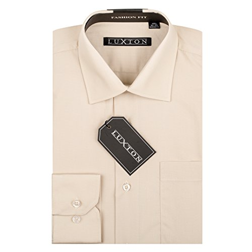 (Luxton Cotton Poly Shirt Collection Regular Fit (Tan 23,X-Large/Neck:17-17 1/2, Sleeve:32/33))