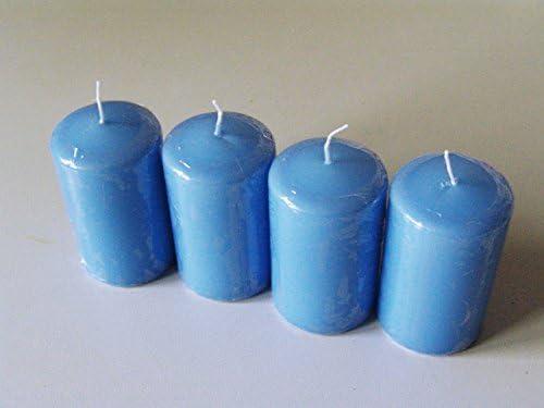 E+N Deko Las velas del pilar 80/60 azul medio, HxØ: 80x60mm, 4 St.Pack, ca.22 Horas queman tiempo Velas de calidad alemanes: Amazon.es: Hogar