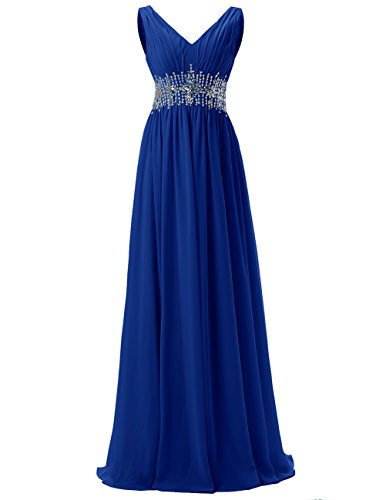 Dresstells®Gala De Fiesta Vestido De Boda Largo Elegante De Gasa Azul Real