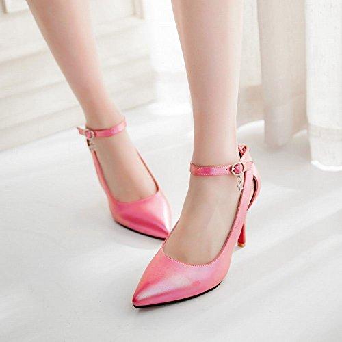 Carolbar Women's Elegant Charm Ankle-strap Stiletto High Heel Dress Shoes Peach WUD6y