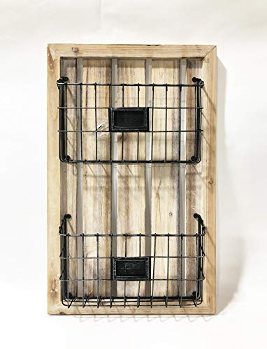2 Tier Magazine - Designstyles Two Tier Magazine Holder - Wall Mounted Rack with Durable Wooden Frame and Grey Colored Metal Baskets - Organizes Files, Books, Letters, and Folders