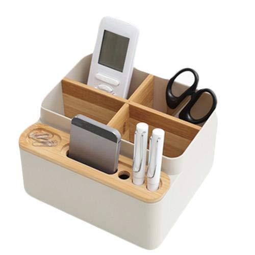 Bambus Desktop Schreibtisch Organizer Office Supplies Aufbewahrungsbox Perfekte Desktop Box für Ihr Smartphone…