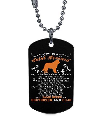 aint Bernard Dog Tag, My Saint Bernard Necklaces (Dog Tag Necklaces - Black) ()