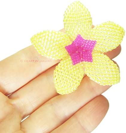 Heart in Hawaii Beaded Plumeria Flower Brooch 24 Color Choices Small