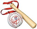 3' MLB New York Yankees Wooden Bat and Baseball Christmas Ornament