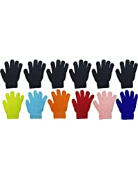 Kids Winter Magic Gloves, 12 Pairs Warm, Cute, Colorful, Stretchy Wholesale for Boys Girls, Toddlers Ages 2-6
