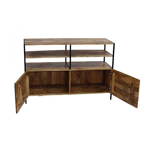 The Urban Port The 39250 Mango Wood TV Console Stand with Storage Cabinet, Brown