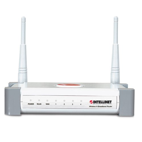 INTELLINET 300N 4-Port Wireless Router with 2dBi Fixed-Dipole Antenna ()