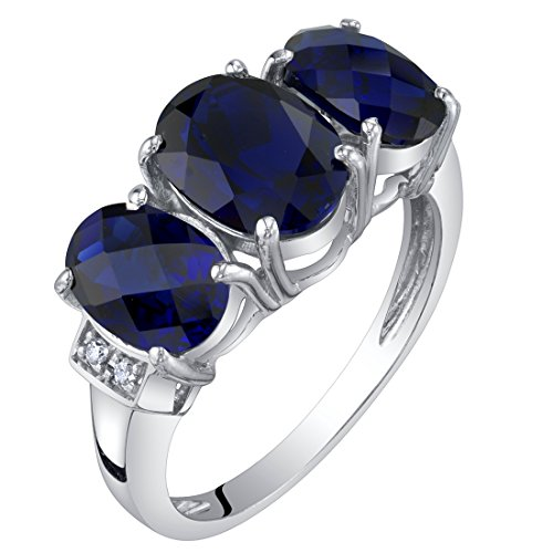 (14K White Gold Created Blue Sapphire and Diamond Three Stone Triune Ring 3 Carats Size 5)