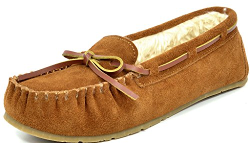 DREAM PAIRS Women's Shozie-01 Tan Faux Fur Slippers Loafers Flats Shoes Size 8.5-9 M US from DREAM PAIRS