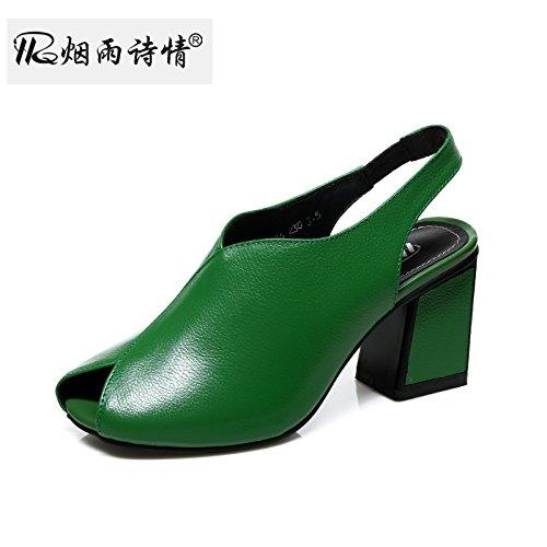 KPHY Ferse Schuhe Cool Hausschuhe Sommer Damenschuhe Fisch Münder High Heels. green