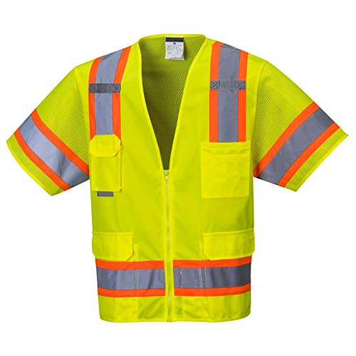 Brite Safety Aurora Sleeved Hi Vis Vest - ANSI Class 3 Compliant Multi Pocket High Visibility Reflective Vests with Sleeves for Men and Women (Yellow,Medium)