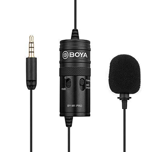 BOYA by-M1 Pro Omni-Directional Lavalier Microphone Clip-on Condenser Mic Compatible with Smartphone DSLR Camcorder Audio Recorder PC Recording Device with Cleaing Cloth