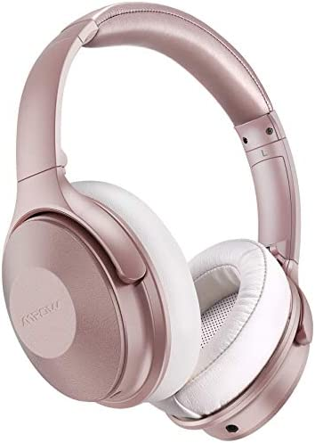 Pink Active Noise Cancelling Headphones, Mpow 45Hrs Playtime Bluetooth Headphones with Microphone, Quick Charge, Deep Bass, Wired Wireless Headset for Girls, Women, Adults, TV, Online Class, Office