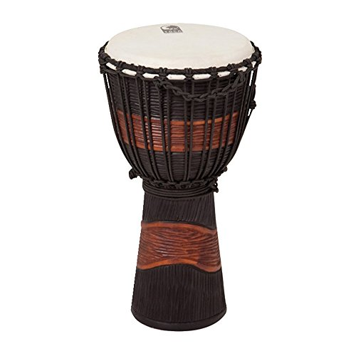 Toca TSSDJ-MB Street Series Rope Tuned Wood Djembe, Small - Brown and Black Stain Toca Wood