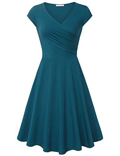 (Messic Direct Women's Cross V Neck Dresses Cap Sleeve Elegant Flared A Line Dress Dark Cyan X-Large)