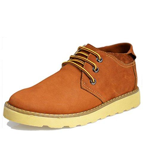Heart&M cuero ocasionales de los hombres ronda toe zapatos de cuero de alta corte gamuza Brown