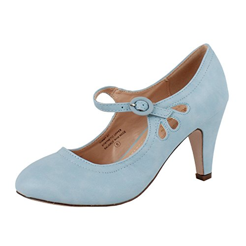 (Chase and Chloe Kimmy-21 Mary Jane Teardrop Cutout T-Strap Pump Heel (8.5 M US, Serenity Blue) )