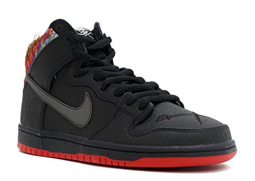 Nike Mens Dunk High Premium SB Gasparilla Black/Chilling Red-Metallic Silver Synthetic Size 13