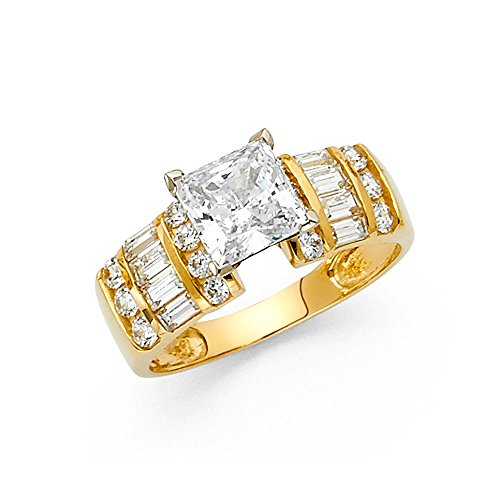 14K Yellow Gold SOLID Wedding Engagement Ring – Size 6.5