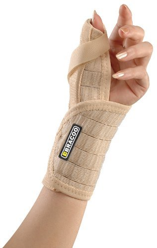 Thumb Wrist Splints (Bracoo Wrist Brace with Thumb Stabilizer, Contoured Splint, Fitted Support – Removable Orthosis with Breathable Sleeve, Chronic Tenosynovitis; Carpal Tunnel Syndrome Relief (Left Hand))