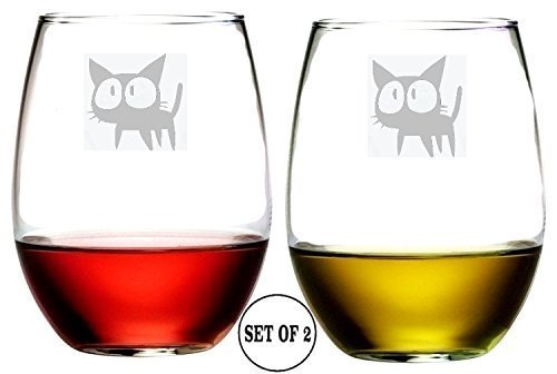 Crazy Cat Set of 2 Stemless Wine Glasses Etched Engraved Monogrammed Hand Made
