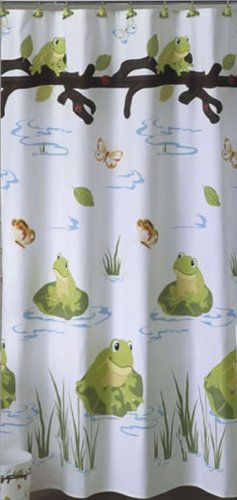 TREE Frog Lily PADS COTTON kids bath SHOWER CURTAIN