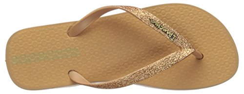 Ipanema Women's Glitter II Flip-Flop, Beige/Gold, 5 B(M) US