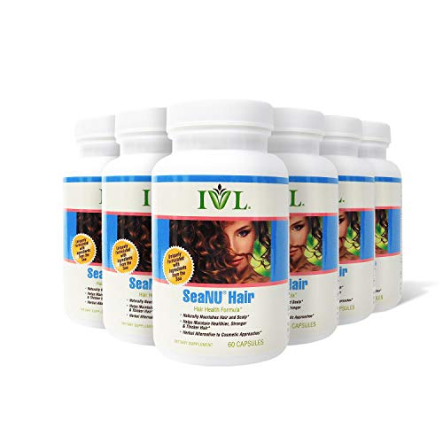 IVL SeaNU Herbal Hair Health Formula Supplement, 60 Capsules per Bottle (Pack of 6) (Every Hair Grows New Hair Cells In A)