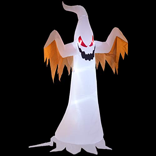 Phoenixreal 8 Foot Halloween Inflatable Air Blown White Ghost with Red Eye Lighted for Home Yard Garden Indoor and Outdoor Decoration by Phoenixreal (Image #4)