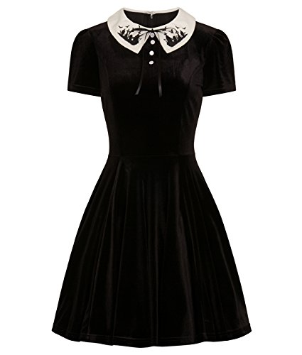 Friedhof Hell Bunny Velvet Fledermaus Alternative Mini Kleid HzvBq
