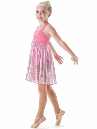 Motionwear Jolie Sapphire Gathered Bodice Cross Back Cami Dress (Child X Small, Pink)