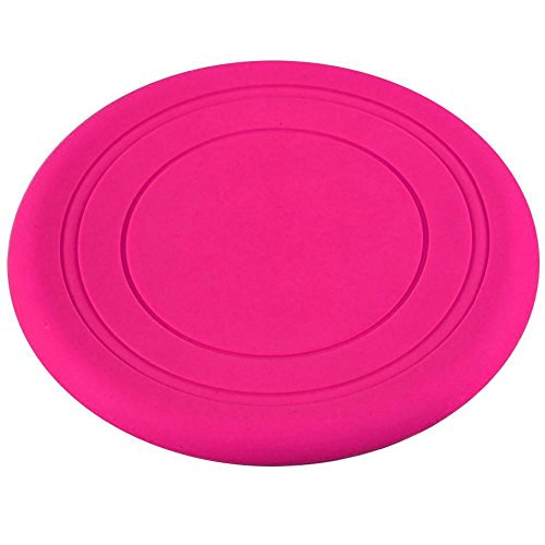 Dog Silicone Frisbee - Rose/Red - Cute Pet Flying Disc, Tooth Resistant, Outdoor Training, Fetch Toy