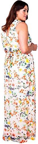44 Pickle® Kleid Maxi Plusgröße 54 Hals Orange Voll Gebunden Scoop Belted liniert Frauen Flower Chiffon Chocolate Neu Taille 6Ox6d