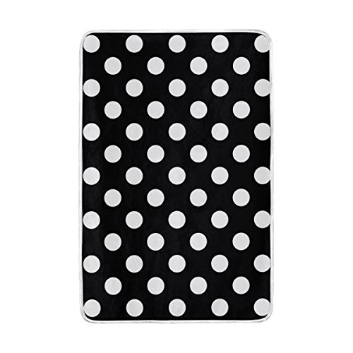 ALAZA Big Black White Polka Dot Polyester Microfiber Soft Warm Throw Blanket for Bed Couch Sofa 60 X 90 - Polka Dot Fleece