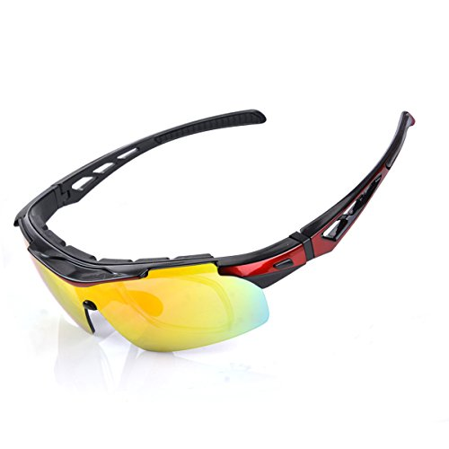 MATT SAGA Bike Cycling Glasses Polarized Sports Sunglasses for Men and Women with Strap Interchangeable Lens, Motorcycle Riding Goggles Safety Glasses Outdoor Protective Eyewear Baseball - Eyewear Bike