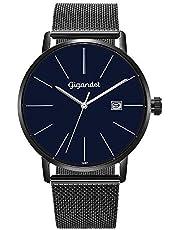 Gigandet Herren-Armbanduhr Minimalism Quarz Analog mit Edelstahlarmband schwarz G42-015